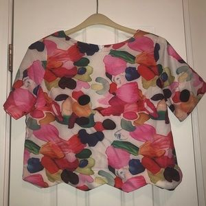 Shein Floral Crop Scalloped top
